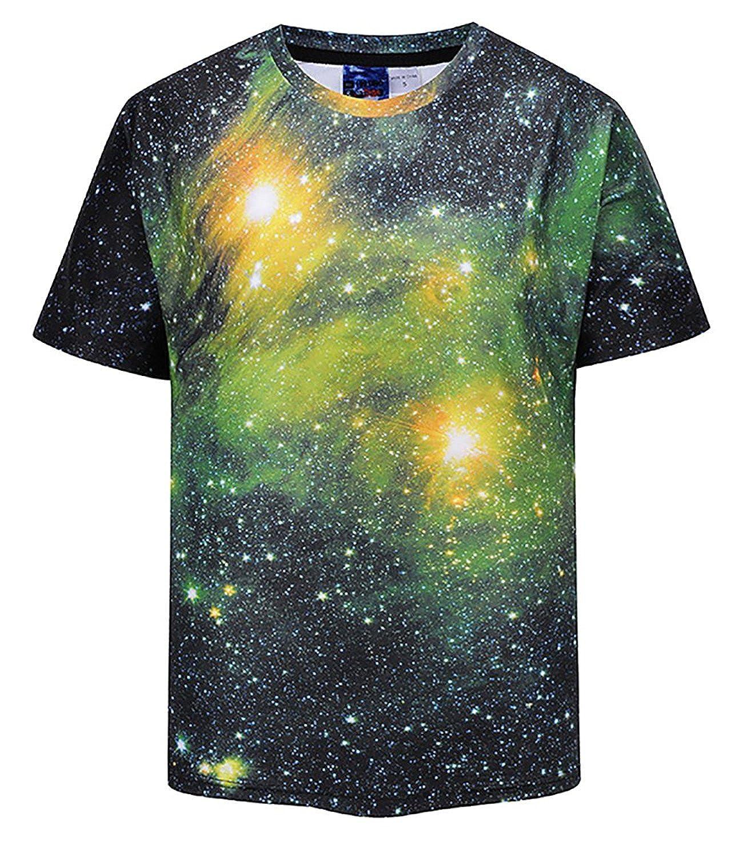Men's Round Neck T-Shirt, 3D Print Casual Design The Wolf Under The Starry Sky T-Shirt Tee Short Sleeve Men' s Round Neck T-Shirt