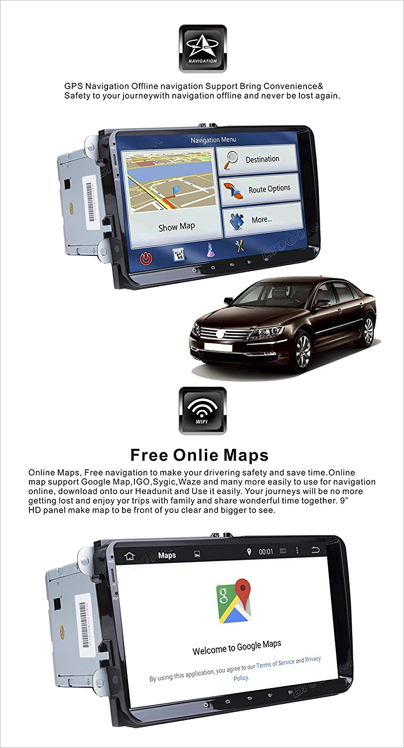 Android 8.0 Car Stereo Double 2 Din 9 Inch Capacitive Touch Screen GPS Navigation System for VW...