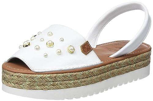 fábrica auténtica comprar online comprar original MENORQUINAS POPA Goa White Perlas, Sandalias con Plataforma ...