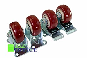 Caster Wheels Steel Plate Casters On Red Polyurethane Wheels 1200 Lbs 3 inch 2 with Brake 2 Fixed Plate