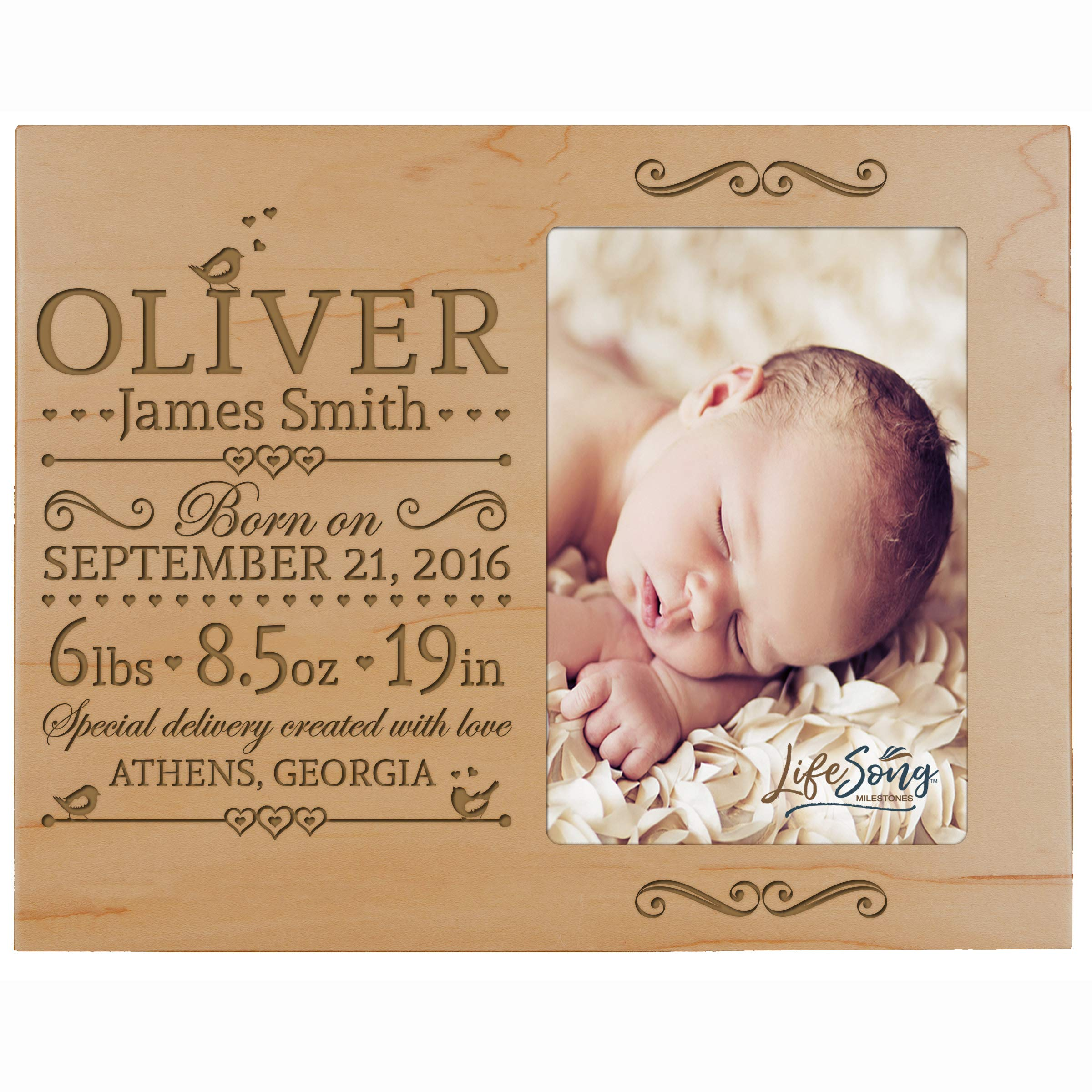 Personalized New Baby Birth Announcement Picture Frame for Newborn Boys and Girls Custom Engraved Photo Frame for New mom and dad Parents and Grandparents (Maple)