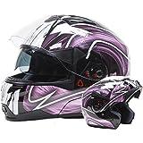Dual Visor Modular Flip Up Helmet - Black / Pink ( Medium )