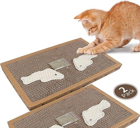 Nobleza - 2* Rascador de cartón para Gatos. Alfombrilla con Catnip. (38.2 * 24.5 * 4) cm(2)