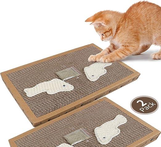 Nobleza - 2* Rascador de cartón para Gatos. Alfombrilla con Catnip. (38.2 * 24.5 * 4) cm(2): Amazon.es: Productos para mascotas