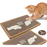 Nobleza - 2* Cat Scratching Board with Sisal Play Kitten Scratch Corrugated Card Pad Mat Board with Free Catnip, 38.2 * 24.5 * 4CM(2)
