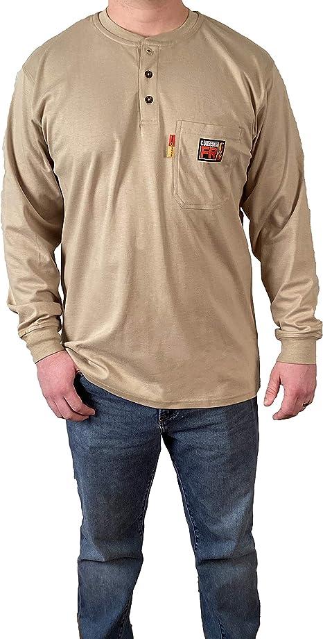 Camisa de trabajo de soldadura de manga larga para hombre de Comeaux FR Henley: Amazon.es: Bricolaje y herramientas
