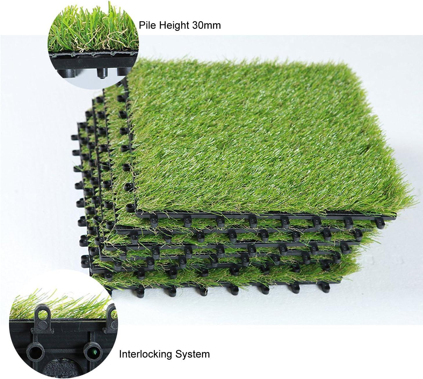 ECO MATRIX Artificial Grass Tiles Interlocking Fake Grass Deck Tile Synthetic Grass Turf Green Lawn Carpet Indoor Outdoor Grass Tile Mat for Patio Balcony Garden Flooring Decor 1'x1' (9 Packs) - -