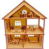 NEKBAL Wooden Doll House with Furniture for Kids, Plywood Doll House, Dollhouse Construction kit with Assembly Instructions, Wooden Doll House for Girls and Boys (Height 30 cm)