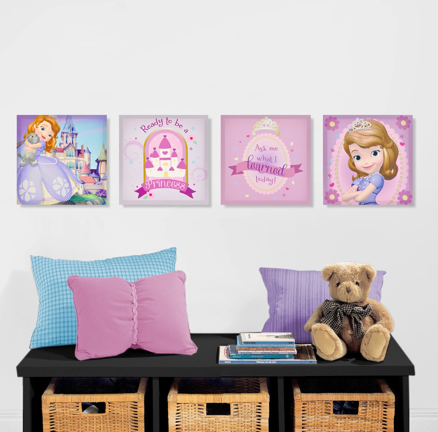 Sofia The First Bedroom Accessories Amazoncom Disney Sofia The First Canvas Wall Art 4 Piece Toys