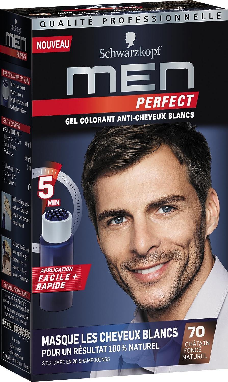 Schwarzkopf – Men Perfect – Gel colorante anti-cheveux blancos – Castaño oscuro natural 70