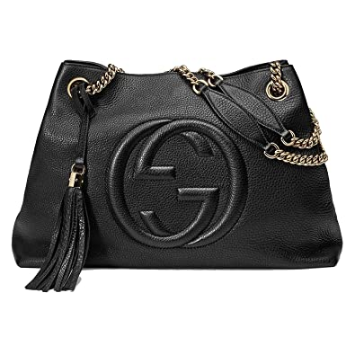 acd4e2a23df3 Amazon.com: Gucci Soho Medium Black Double Leather Chain Shoulder Bag Tote  Black Gold New: Shoes