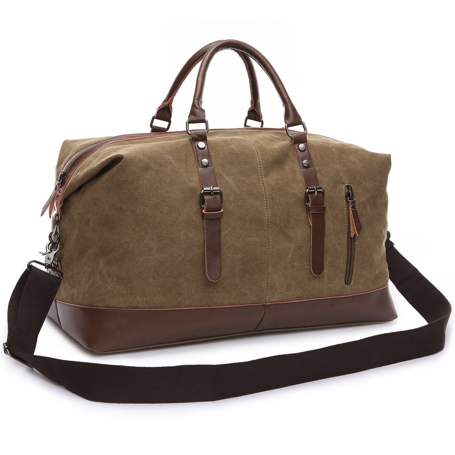 Duffle Travel Bag, Veckle Canvas Duffel Bag PU Leather Luggage Carry-on Bag for Weekend, Unisex Coffee