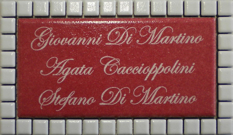 Mosaici Guizzo Targhetta in ceramica incisa+cornice_colore rosso mattone