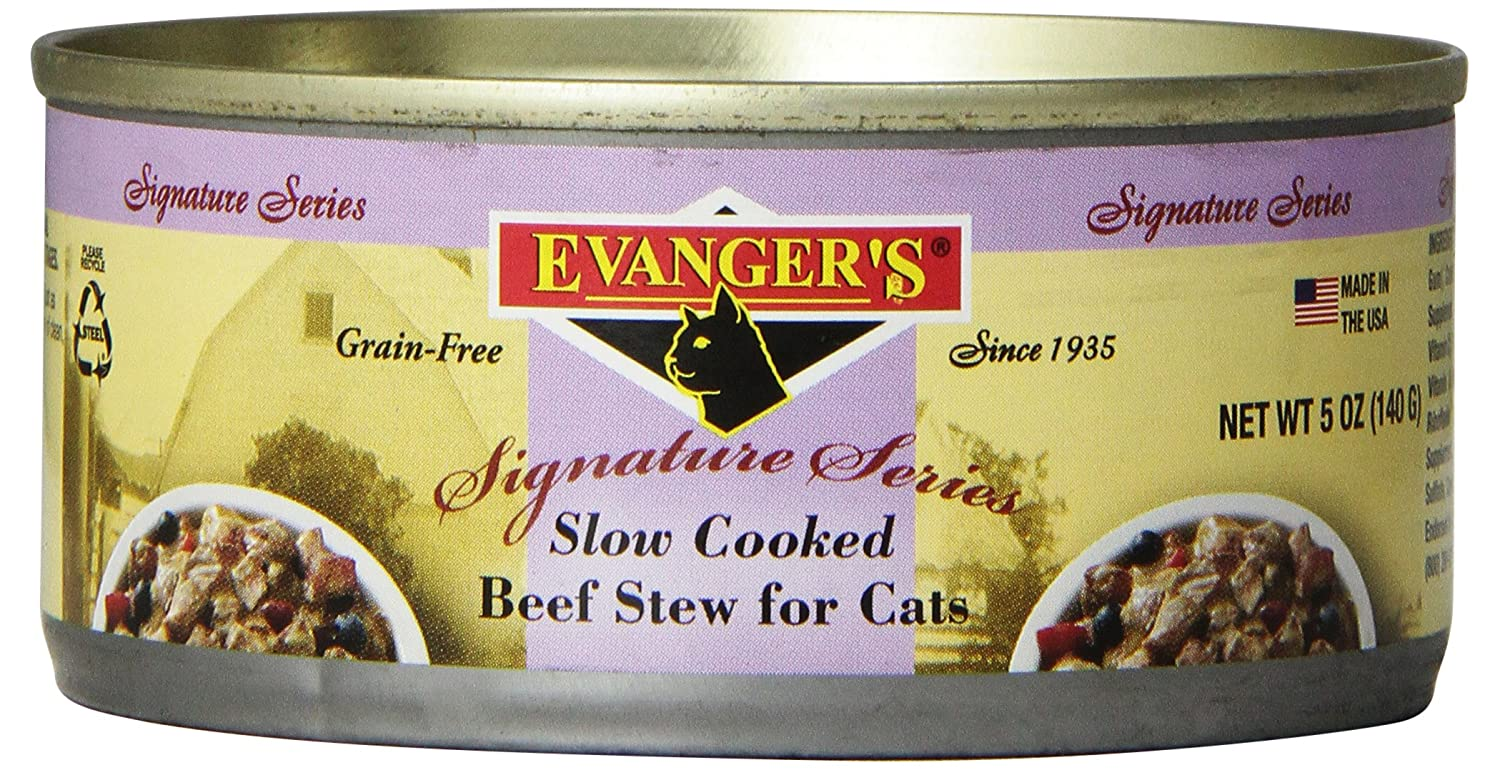 EVANGER'S 776353 Signature Series Grain Free Slow Cooked Beef Stew Dinner for Cats, 5.5-Ounce