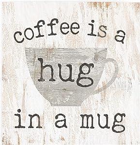 P. Graham Dunn Coffee a Hug in a Mug Whitewash 3.5 x 3.5 Inch Pine Wood Tabletop Block Sign