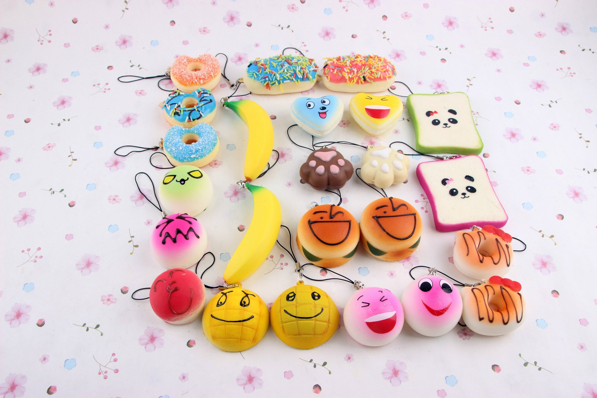 10/15/20 PCS Cute Squishy Jumbo Medium Mini Random Soft Squishy Bread Toys Key Phone Strap Bread Fruit Phone Charm Toys Squishy Slow Rising with Gift Package(Random Colour) (20PCS)