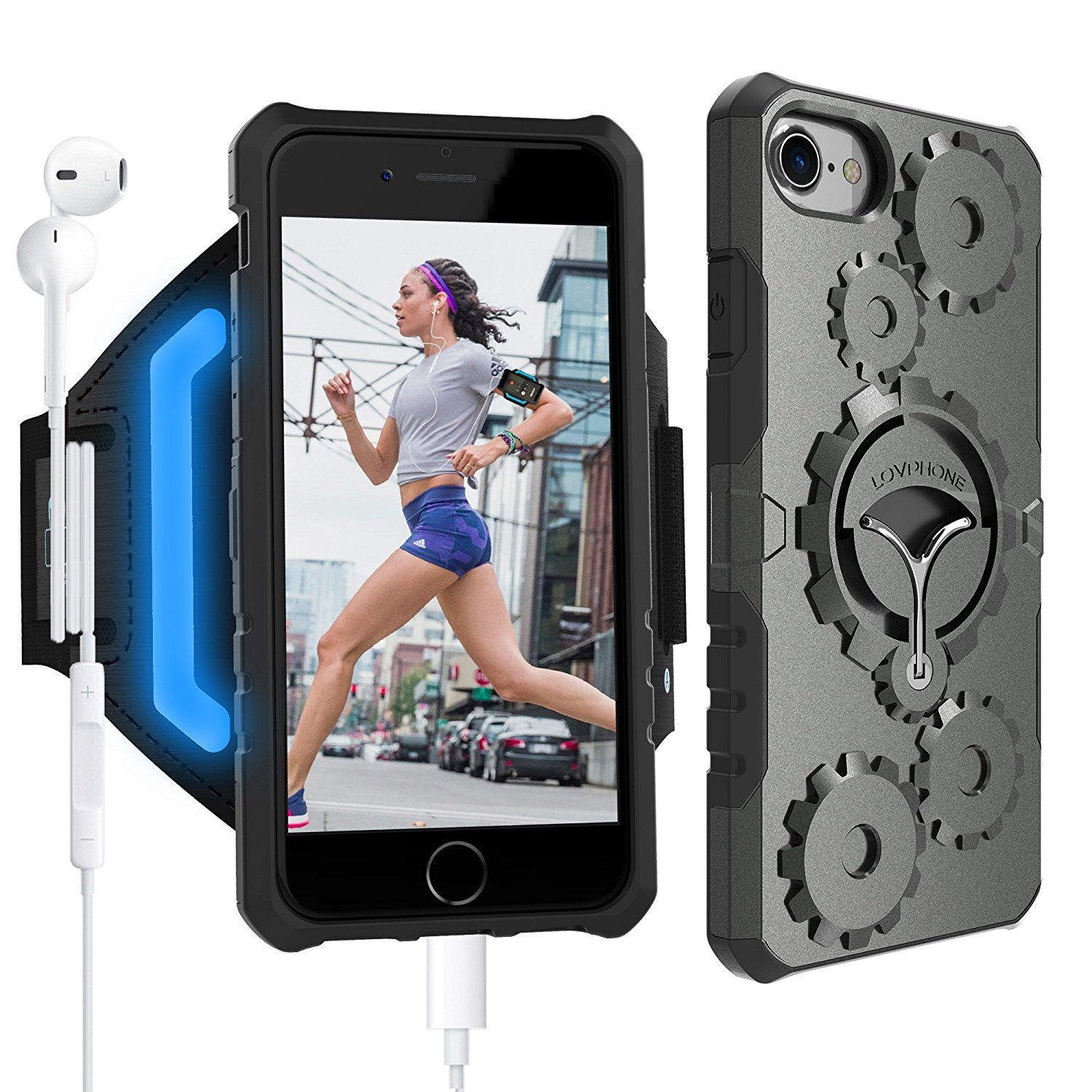 iPhone 7/7 Plus Armband & Armour Case Set-LOVPHONE Multifunctional Sport Running Armband + Premium Protective Case with Kickstand for iPhone 6/6S/7/7 Plus,Soft Elastic Strap with Key Holder