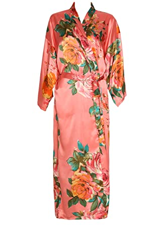 c132c0f65ecf Zarachilable Women 's Long Kimono Robe Floral Bridesmaid Robe,Bridal Robe  (one Size