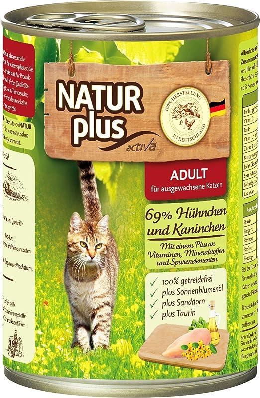 natural Plus gato Forro Adult con 69% pollo y de conejos getreidefrei – 6 x 400 g: Amazon.es: Productos para mascotas