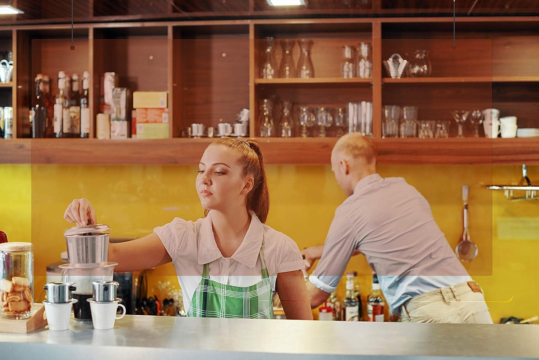 Mampara de metacrilato mostrador. Pantalla protección transparente color bronce para colgar farmacias, tiendas hostelería gimnasio oficina (150 x 90 cm): Amazon.es: Oficina y papelería