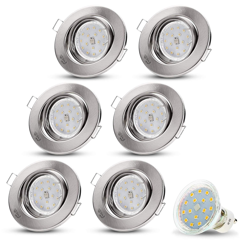 LED Einbaustrahler Schwenkbar DECORO Rund (Matt-Chrom) Inkl. 6 X 4W LED Warmweiss 230V IP20 Deckenstrahler Einbauleuchte Deckeneinbaustrahler Einbauspot Deckeneinbauleuchte Deckenspot Drehbar