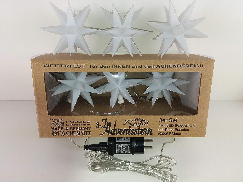 5m Kabel /& LED mit Timer Funktion 3er Set Advents Advent Weihnachts Stern /Ø 12cm 3x wei/ß 12cm//3er Set - 3x wei/ß Design by MS-Royal Chemnitz