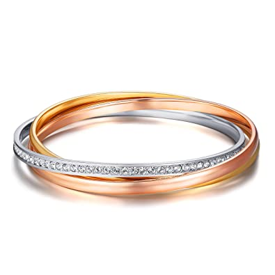 MYJS Trinity 3 Gold Plated Interlocking Bangle Bracelet with Clear Swarovski Crystals yqpq2h17K