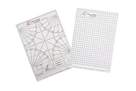 Designer Lines : 2 x a4 'freehand designer' sheets. 1 grid sheet & protractor
