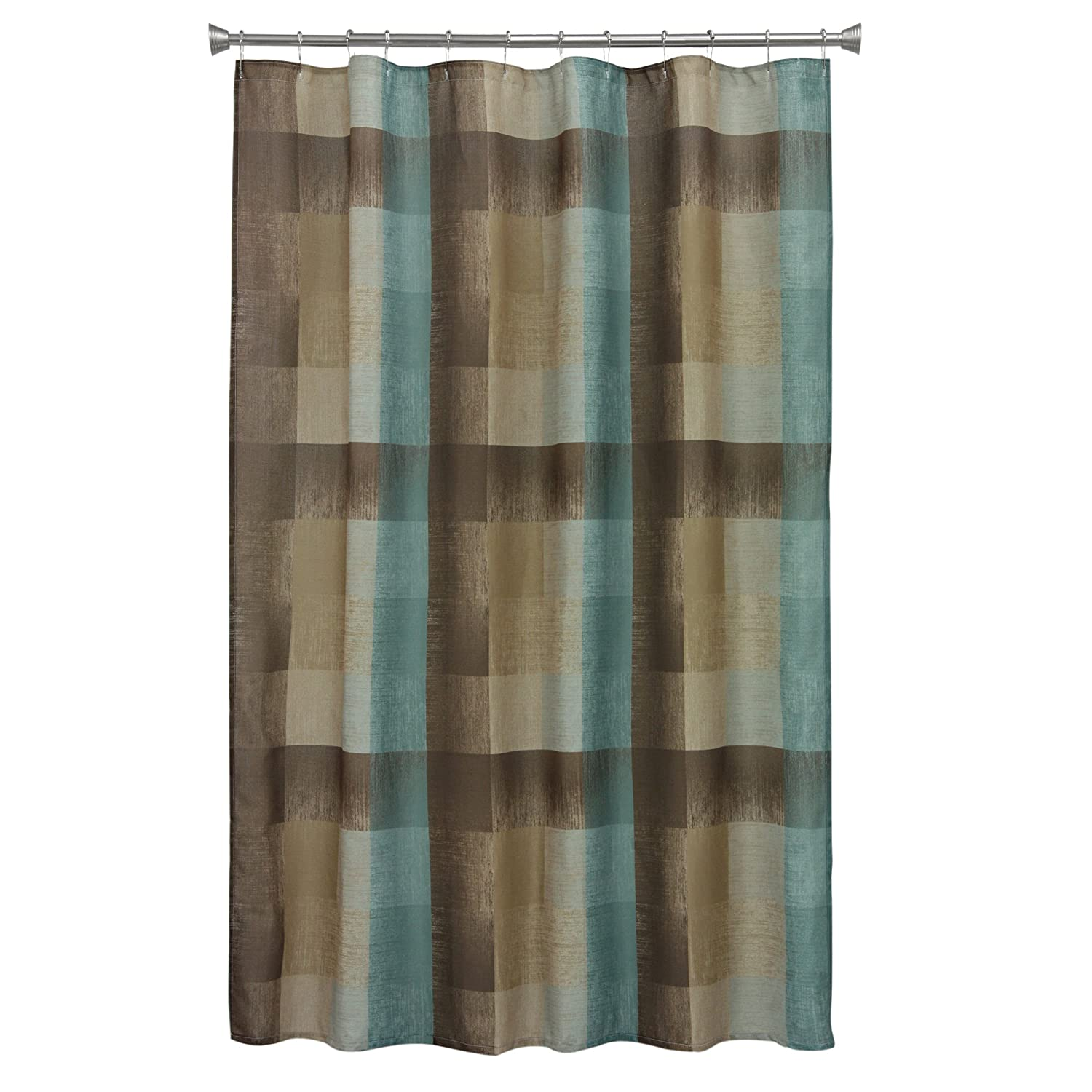 Amazoncom Bacova Guild Fresh Flannel Shower Curtain  By - Brown and turquoise shower curtain