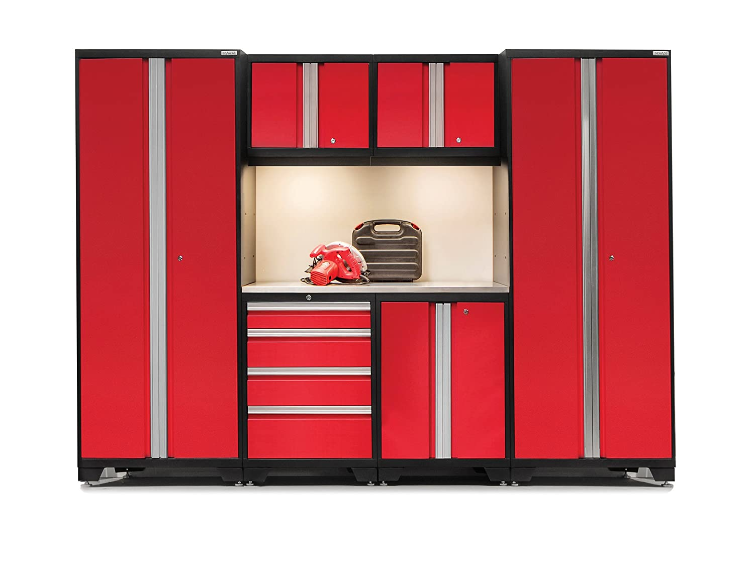 Newage Products Bold 3.0 24-Guage Welded Stainless Steel Worktop Cabinet Set (7-Piece), Red