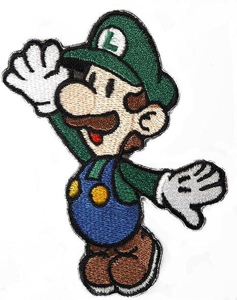 Luigi parche bordado hierro en placa de disfraz Cosplay Mario Kart ...