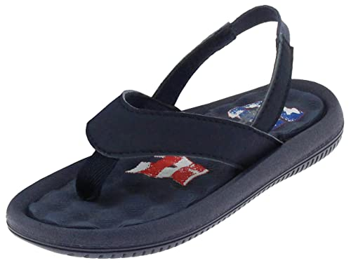 2747148befba Capelli New York Toddler Boys Flip Flop with Backstrap On Vintage USA  Printed Sock Navy Combo