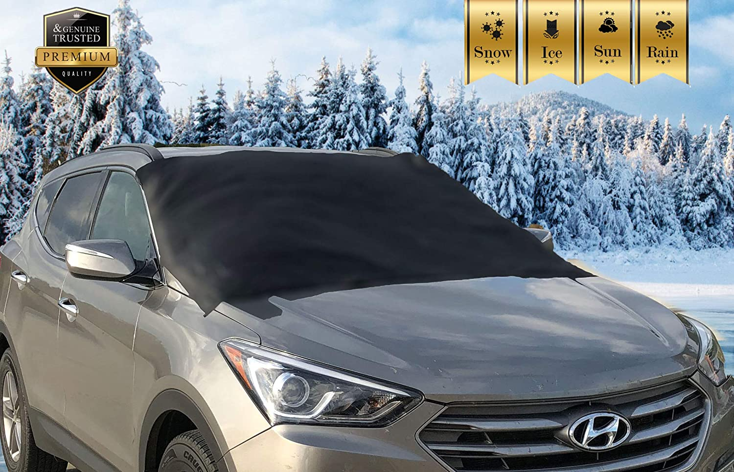Premium Windshield Snow Cover for All Vehicles, Covers Wipers, Ice, Frost Guard, No More Scraping, Door Flaps Windproof Magnetic Edges Apex Automotive pw-carover