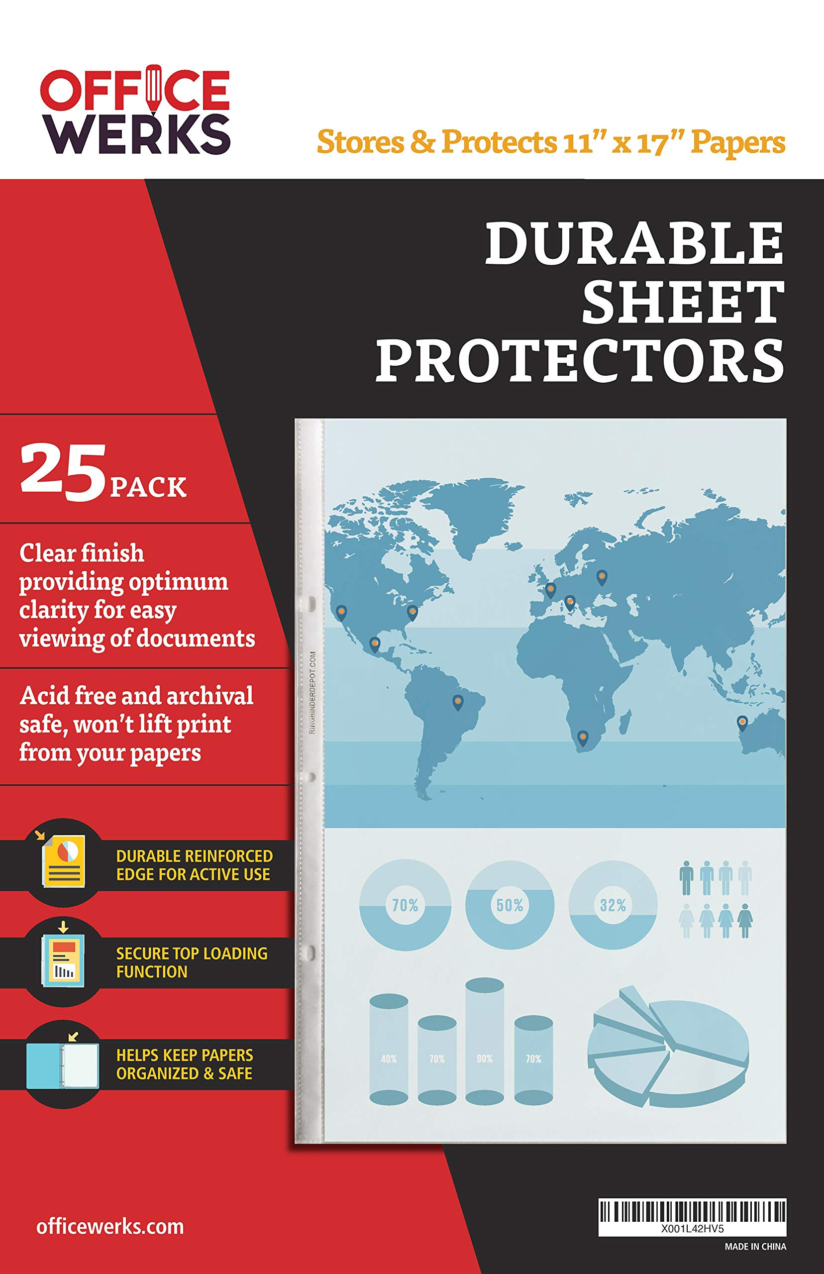 11 x 17 Sheet Protectors, Portrait View,25 Pack, Top Loading, Protect, Store and Display 11X17 Paper, Photographs, Prints, and Documents