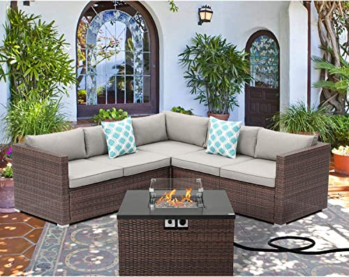 SUNBURY Outdoor 4 Piece Sectional Sofa Propane Fire Pit