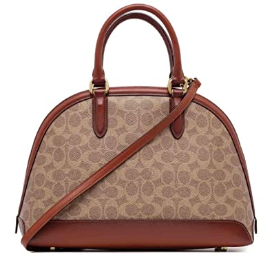 d94641f36fa Amazon.com: COACH Women's Coated Canvas Signature Quinn Satchel B4/Tan Rust  One Size: Shoes