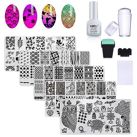 AIMEILI Nail Art Plates Nagelstempel Maniküre Tool Kit 5Pcs Nagel Stamping Schablonen, 2 Stempel, 2 Schaber, 1 Latex Peel Off