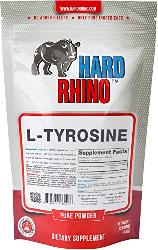 Hard Rhino L-Tyrosine Powder, 125 Grams 4.4 Oz , Unflavored, Lab-Tested, Scoop Included