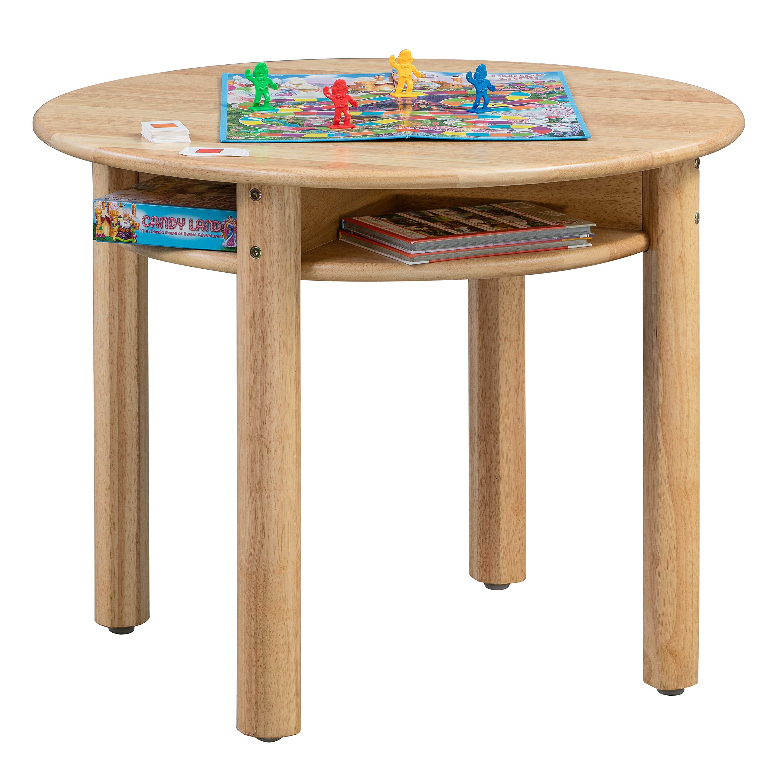ECR4Kids Stowaway Table - Solid Wood Round Kids Table with Built-in Storage, Natural by ECR4Kids