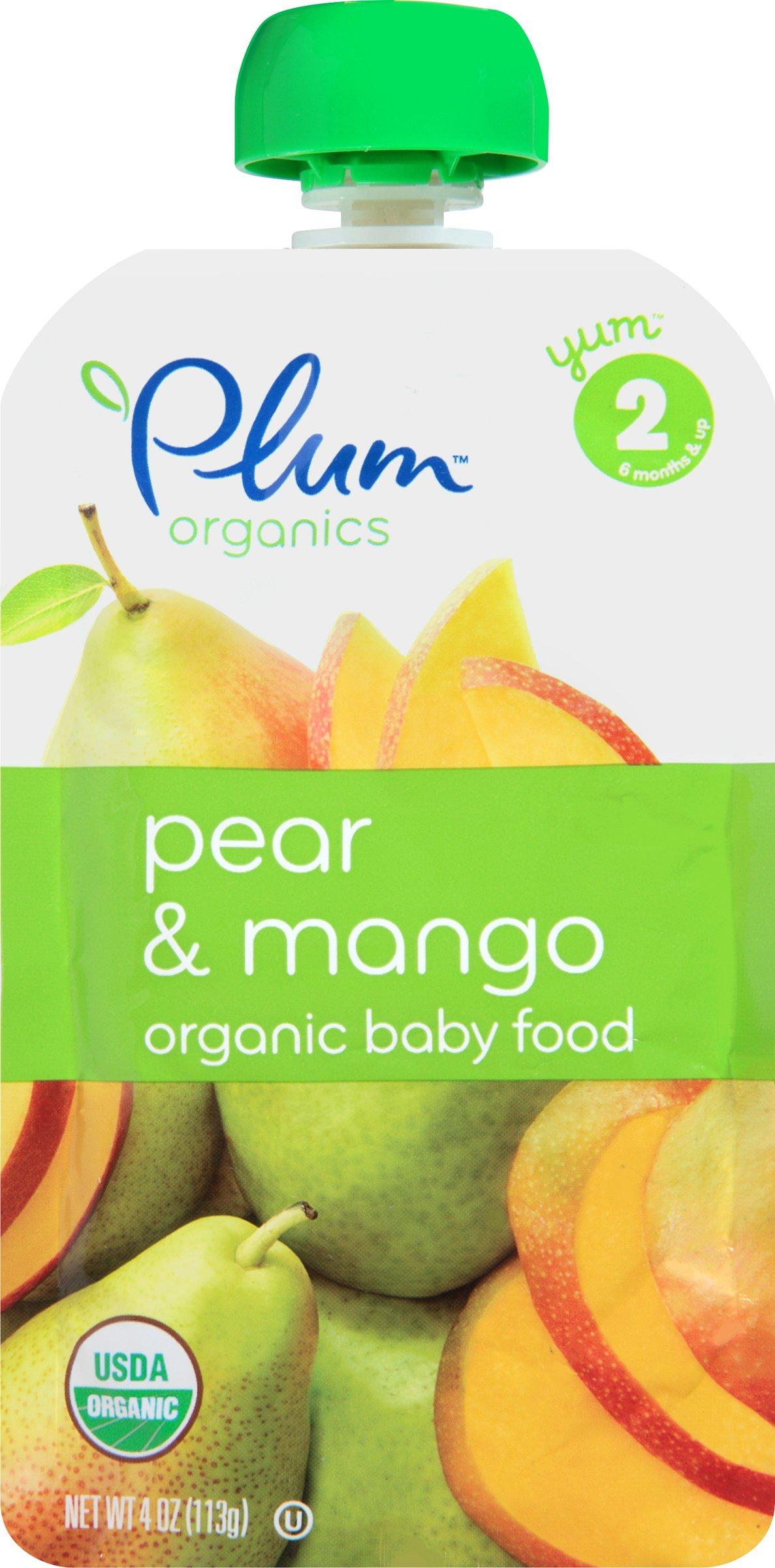 Plum Organics Stage 2, Organic Baby Food, Pear, and Mango, 4 Ounce