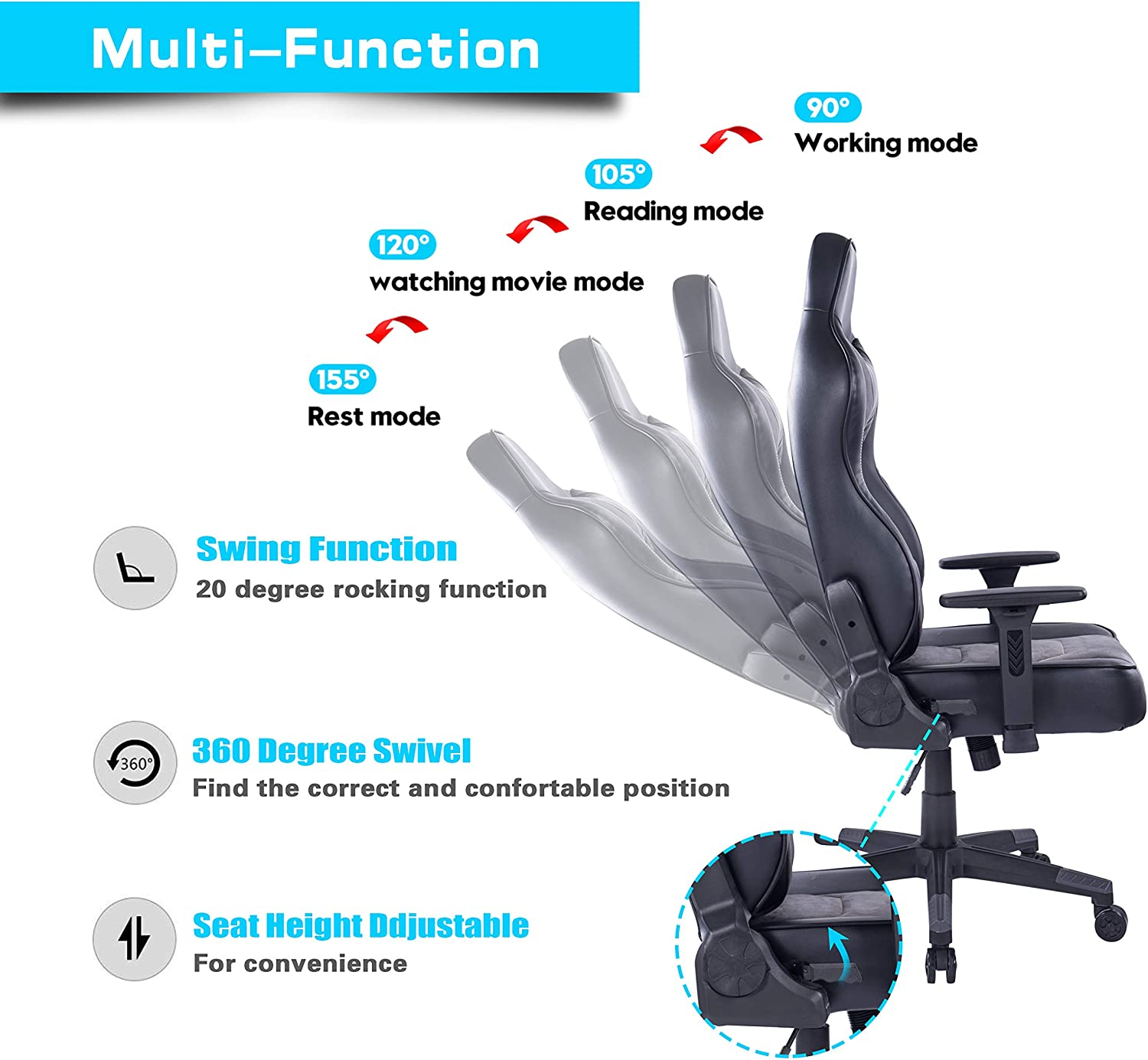 PC Computer Video Game Racing Chair Reclining Executive Ergonomic Office Desk Chair with Headrest 8291 Grey Blue Whale Gaming Chair with Massage Lumbar Pillow