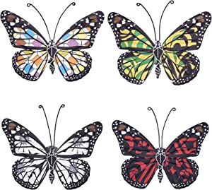 VOKPROOF Metal Butterfly Wall Decor - Butterflies Tropical Decor,Indoor and Outdoor Wall Art Decorations for Home, Room, Garden, Patio, Fence, Yard (Set of 4)