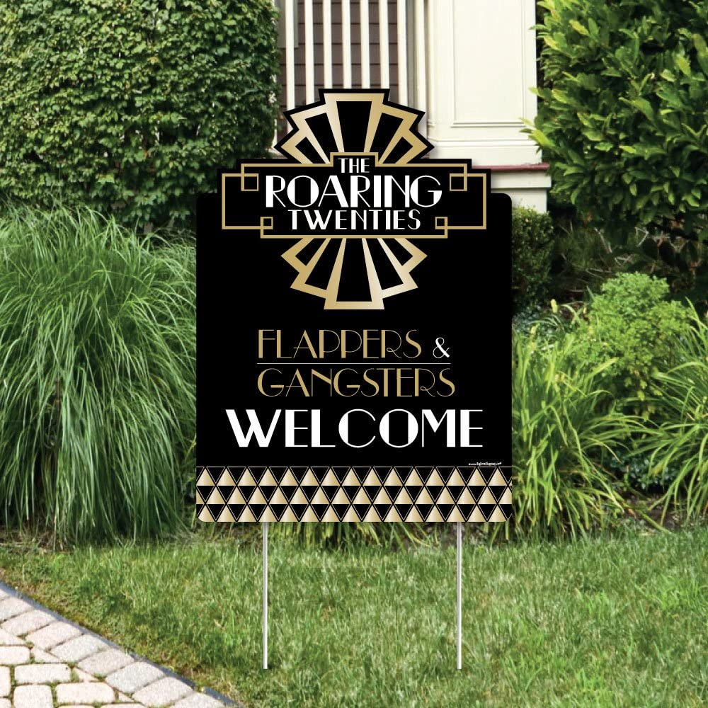 2020 New Year/'s Eve Party Decorations Big Dot of Happiness Roaring 20s 1920s Art Deco Jazz Party Welcome Yard Sign