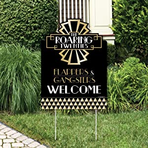 Big Dot of Happiness Roaring 20's - 1920s Art Deco Jazz Party Welcome Yard Sign