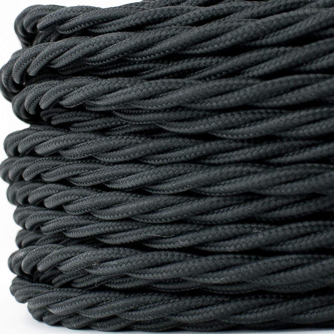 5//10//20m Textilkabel Lampen Stoffkabel Elektro-kabel 2-adrig Verseilt Geflochten