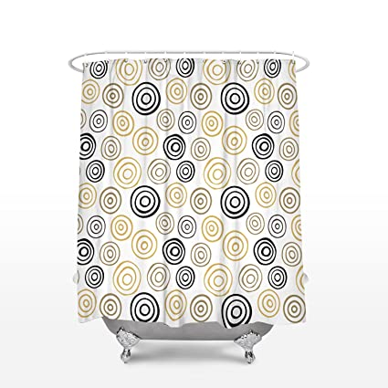 BMALL Customize Shower Curtain Circles Pattern Polyester Fabric Bathroom Set Hooks 36X72in