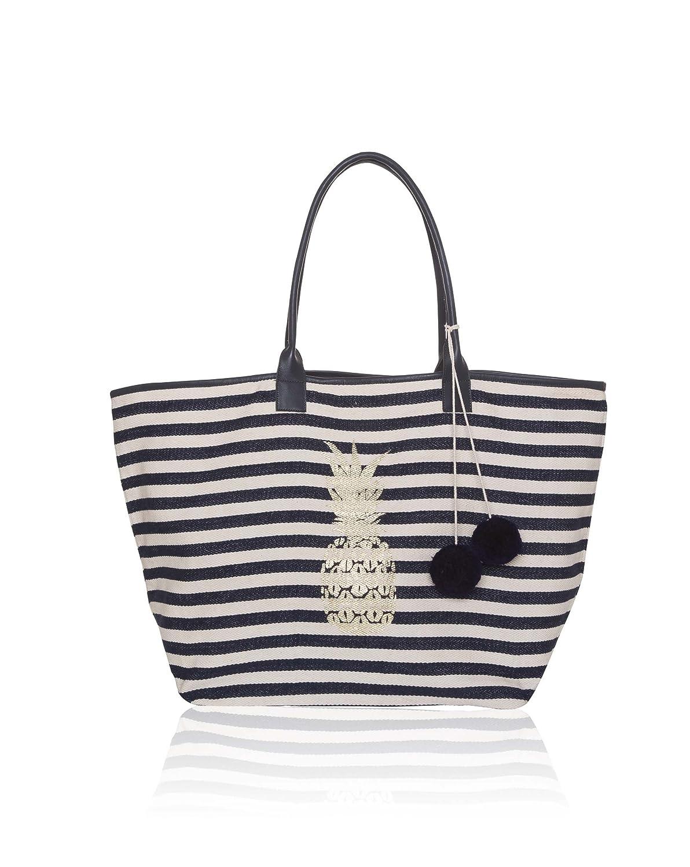 a50d23cd22e5 Ashiana Nautical Stripes Beach Tote Bag with Gold Pineapple Print   Amazon.co.uk  Clothing