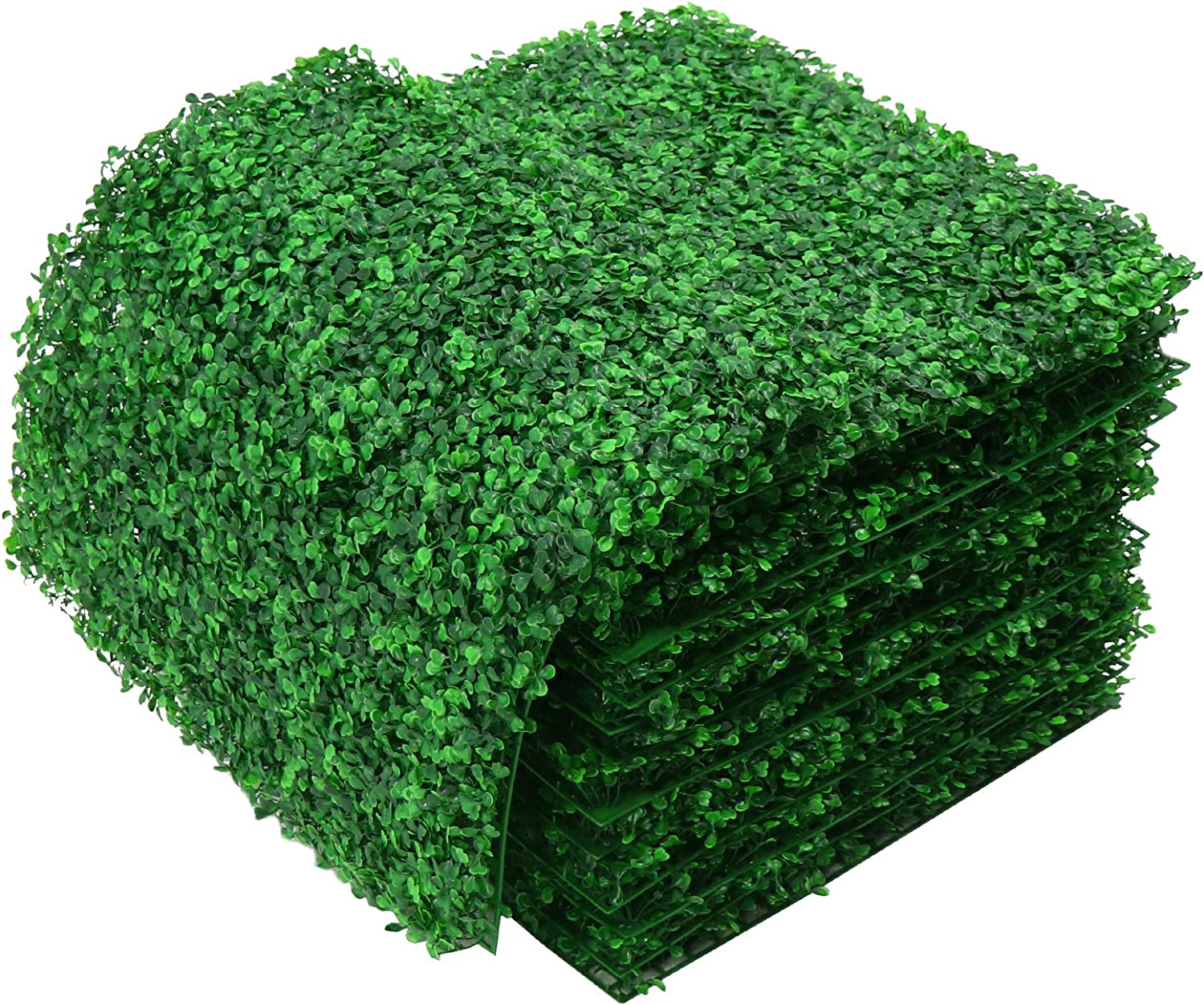 DQS Artificial Boxwood Panels - 12 Pieces of Faux Hedge Wall Backdrop, 24 x 16 Inch Green Boxwood Wall Mat for Outdoor, Balcony, Garden Fence Screen and Indoor Wall Decoration (24 pcs - 20x20 inch)
