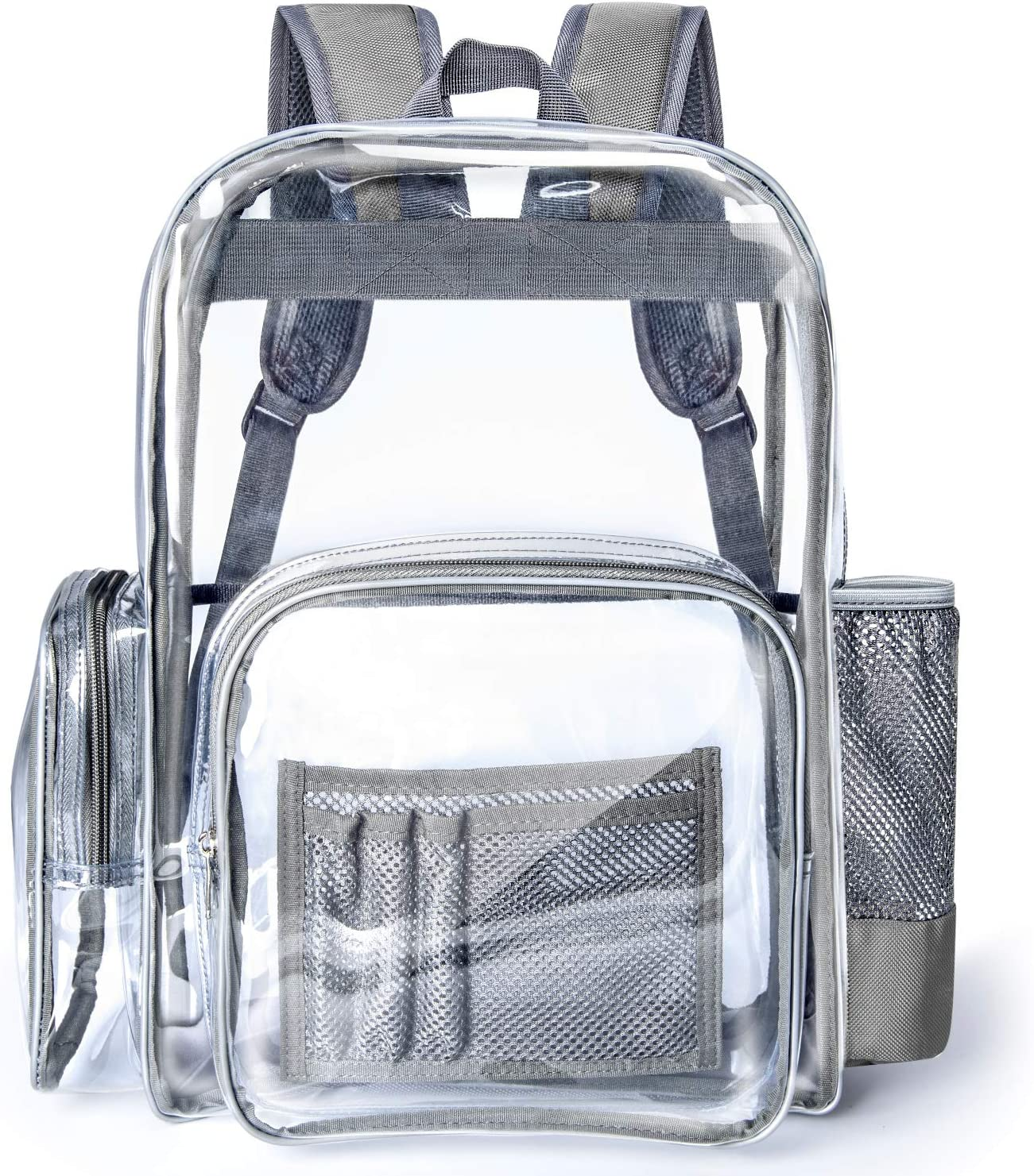 Clear Backpack, Packasso Heavy Duty Large Sturdy Waterproof Oxford Fabric Bottom Roomy Clear Bag for Adults, Boys, Girls, Security, Stadium, School, Work, Travel and More, Grey Straps