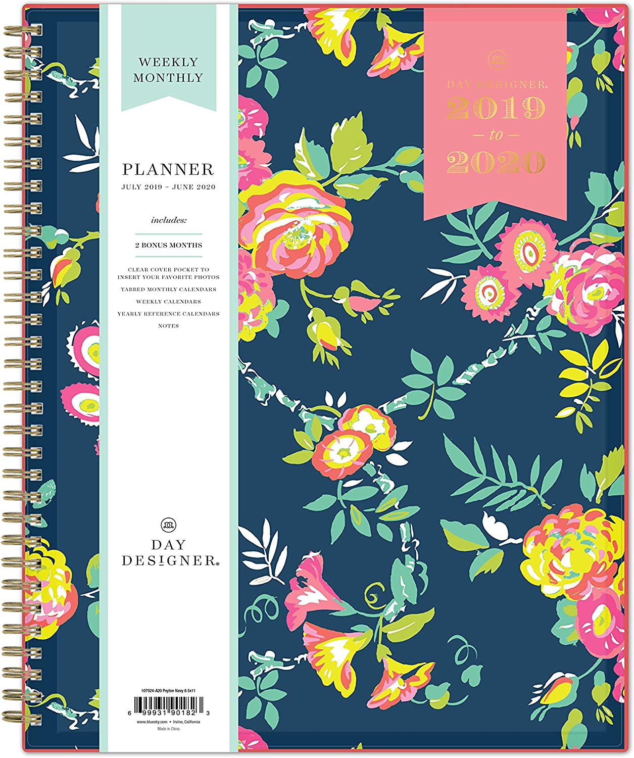 "Day Designer for Blue Sky 2019-2020 Academic Year Weekly & Monthly Planner, Flexible Cover, Twin-Wire Binding, 8.5"" x 11"", Peyton Navy"